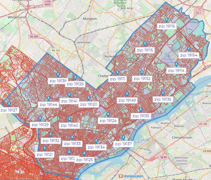 Philadelphia Zip Code Map for Property Management