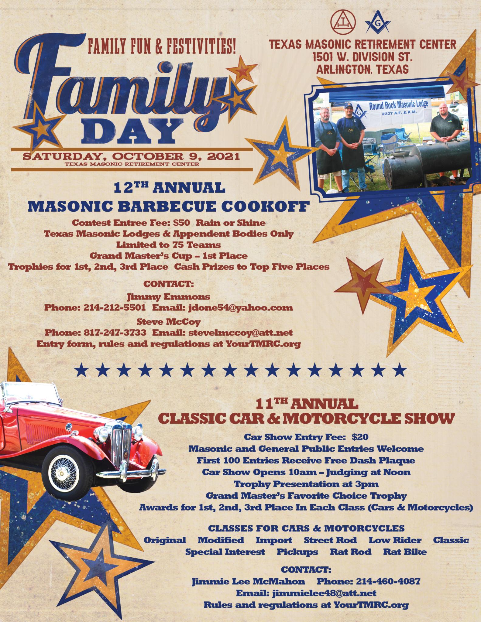 Family Day 2021 BBQ & Car Show Flier