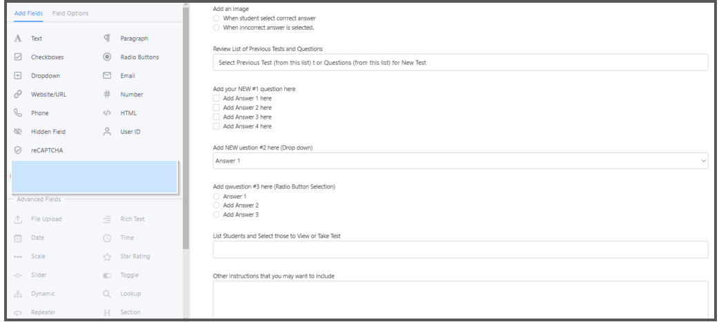 Easily Configure Questions as Many Different Types