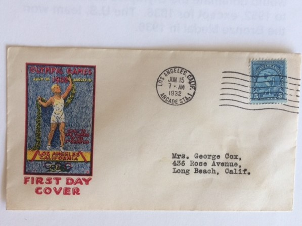 1932 Los Angeles Olympics 1st Day Cover