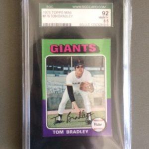 1975 Topps Mini Baseball Card 179 Tom Bradley