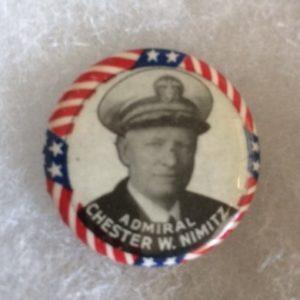 Admiral Chester Nimitz WW II Pinback