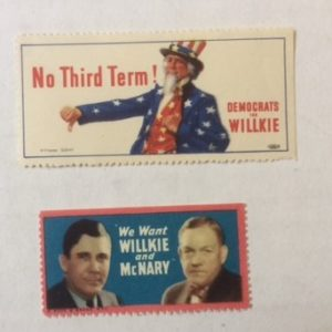 Two rare Willkie Campaign Stamps