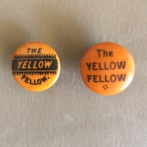 Yellow Fellow Bicycle Pinbacks circa 1890s