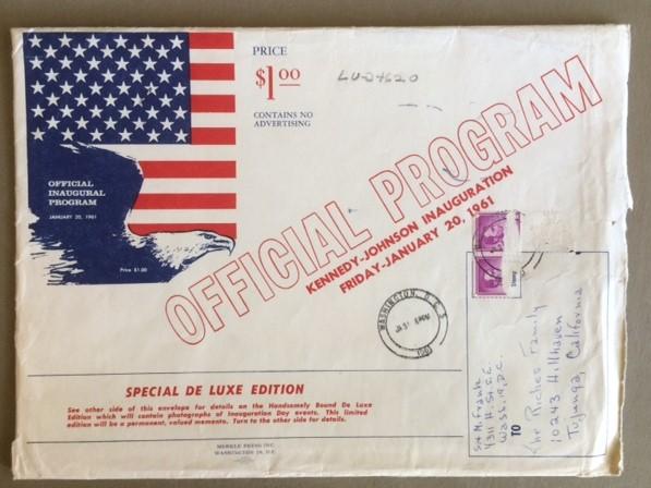 1961 JFK inauguraton program envelope