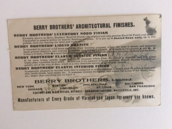 Uncle Sam Berry Brothers Trade Card back view