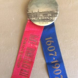 1907 Jamestown Exposition - State Exhibit Bldg Pinback and Ribbon