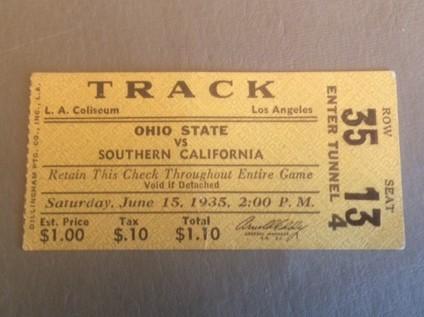 1935 USC vs Ohio State Track Meet Ticket Stub