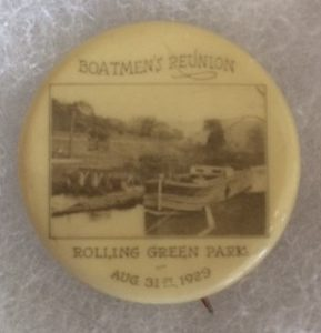 Boatmen's Reunion Rolling Green Park 1929 pinback