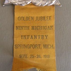 Golden Jubilee Ninth Michigan Infantry 1868 to 1918 badge and ribbon