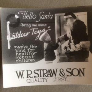 1920s Santa Advertising Photo Card Outdoor Toys