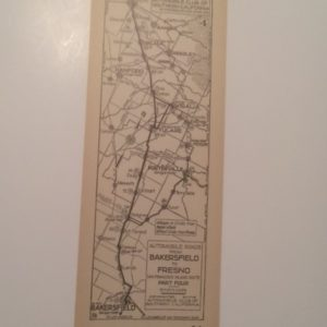 1920s California AAA Map Bakersfield to Fresno