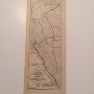 1920s California AAA Map Santa Barbara to Santa Maria