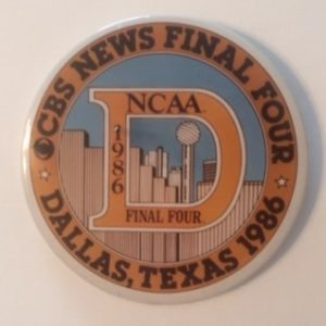 1986 NCAA Final Four CBS News pinback