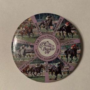 1986 Breeders Cup Horse Race Santa Anita pinback