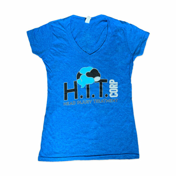 Women's V Neck T-Shirt with H.i.T. Corp logo on front
