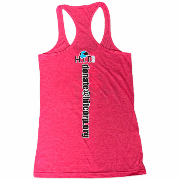 Women's Razor Back Tank Top in Pink with H.i.T. Corp logo and donate email address