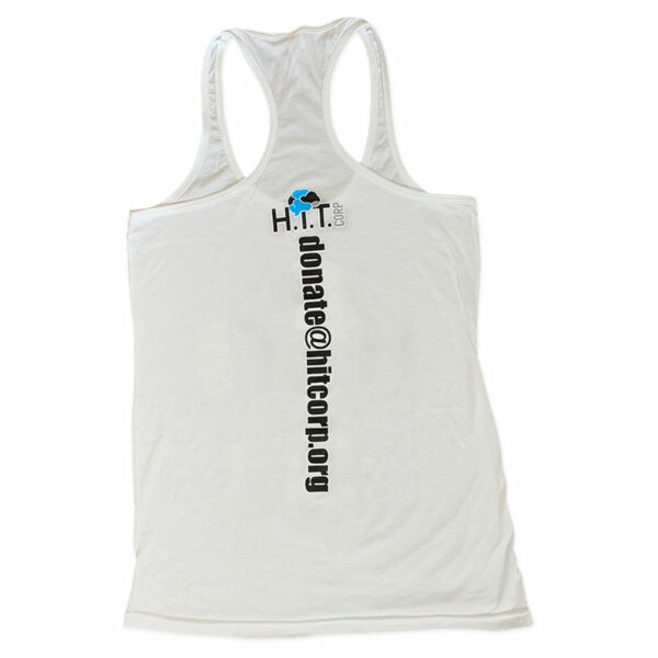 Women's Razor Back Tank Top in White with H.i.T. Corp logo and donate email address