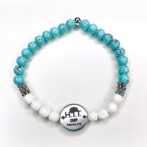 Teal Marble and White Lava Bracelet