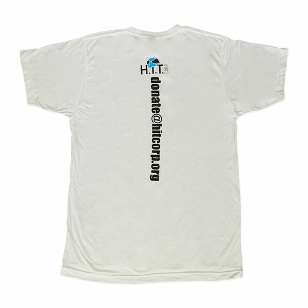 Back of men's white t-shirt with H.i.T. Corp logo and donate info