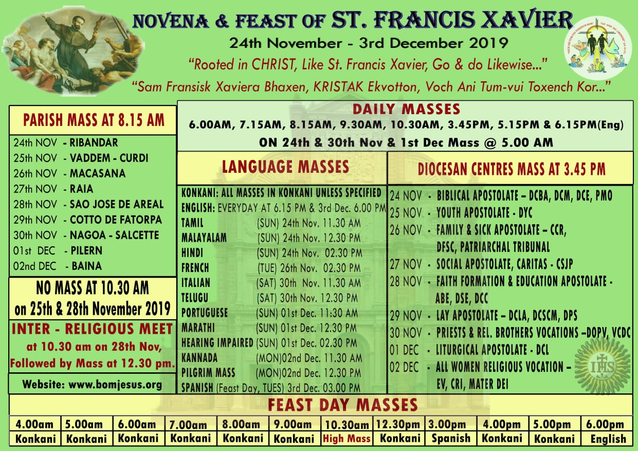 Schedule for Novena and Feast of St Francis Xavier