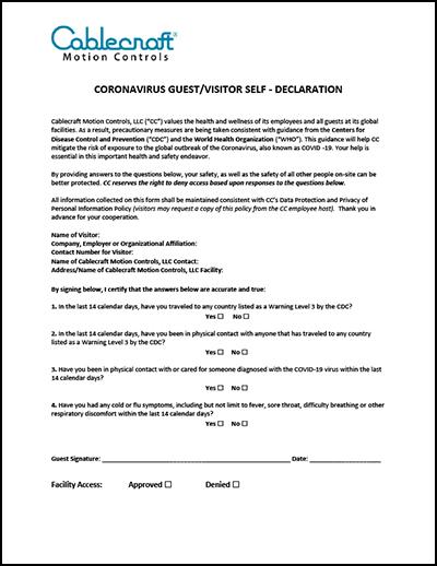 Coronavirus Guest/Visitor Self-Declaration