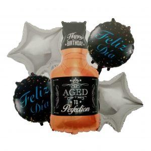 Botella De Licor; Plateadas-negro, Feliz Día