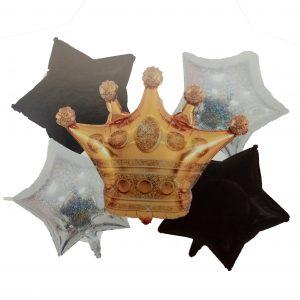 Corona Estrellas Plateadas Y Negras