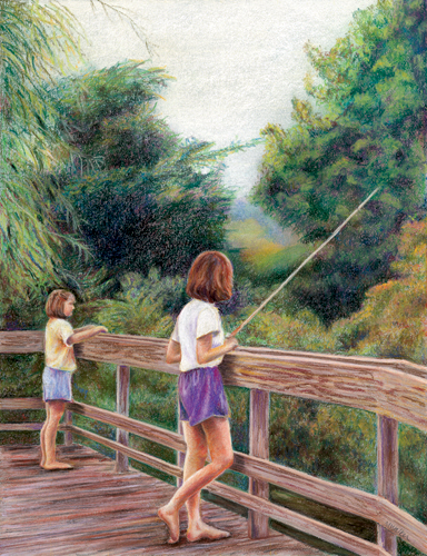 Fishing in Gallup Park - Pastel