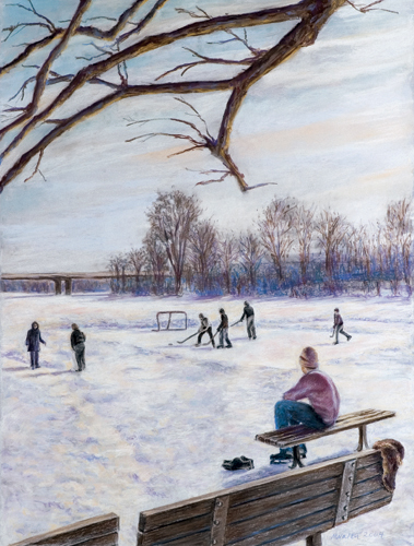 Hockey on the Huron - Pastel Painting