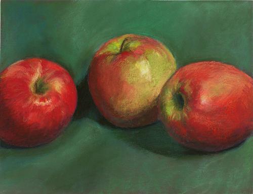 Three Apples - Pastel