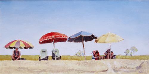 Four Umbrellas - Oil Painting
