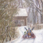 Snow Day on Huntington Drive - Pastel