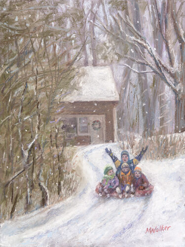 Snow Day on Huntington Drive - Pastel
