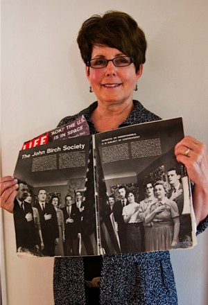 Claire holding Life Magazine
