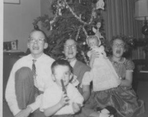 Conner family Christmas 1956 Back row: Jay R., age 12, Claire, age 11, Janet, age 8 Front: Larry, age 4