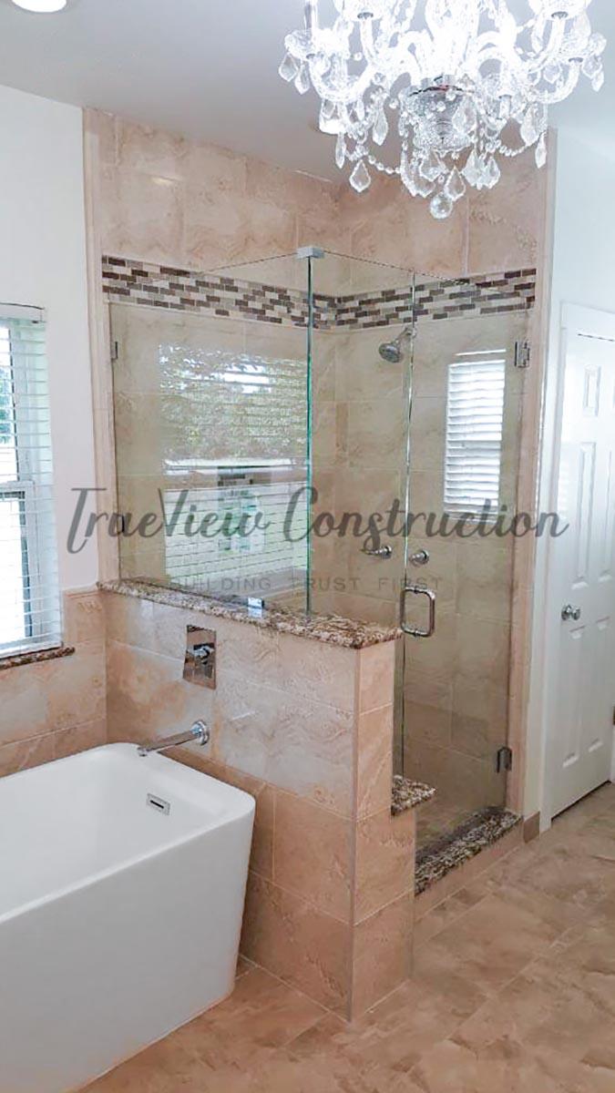 Custom Master Bathroom Shower and Bathtub