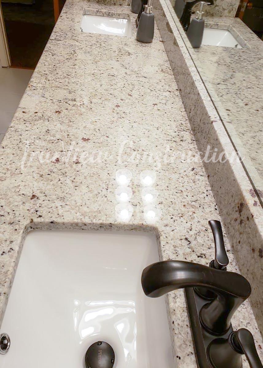 Custom Bathroom Granite and Sink Installation