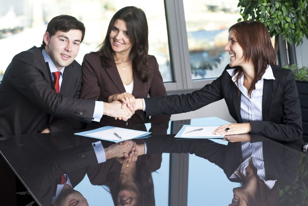 businesswoman mediating and making business conciliation possible
