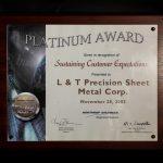 Northrop Grumman's Platinum Award for Sustaining Customer Expectations to L&T Precision 2003