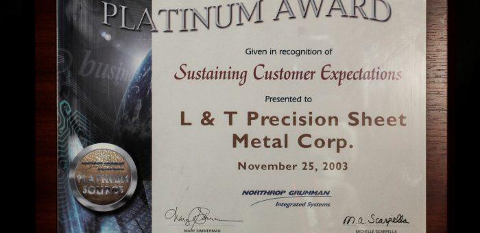 Northrop Grumman's Platinum Award for Sustaining Customer Expectations