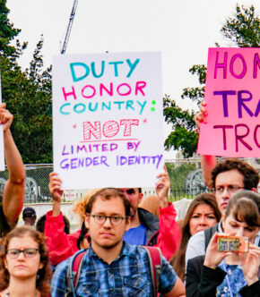 Protesters Against The Transgender Military Ban