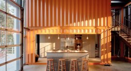 Container House Blue Maine Shipping Design Build Sheridan Construction