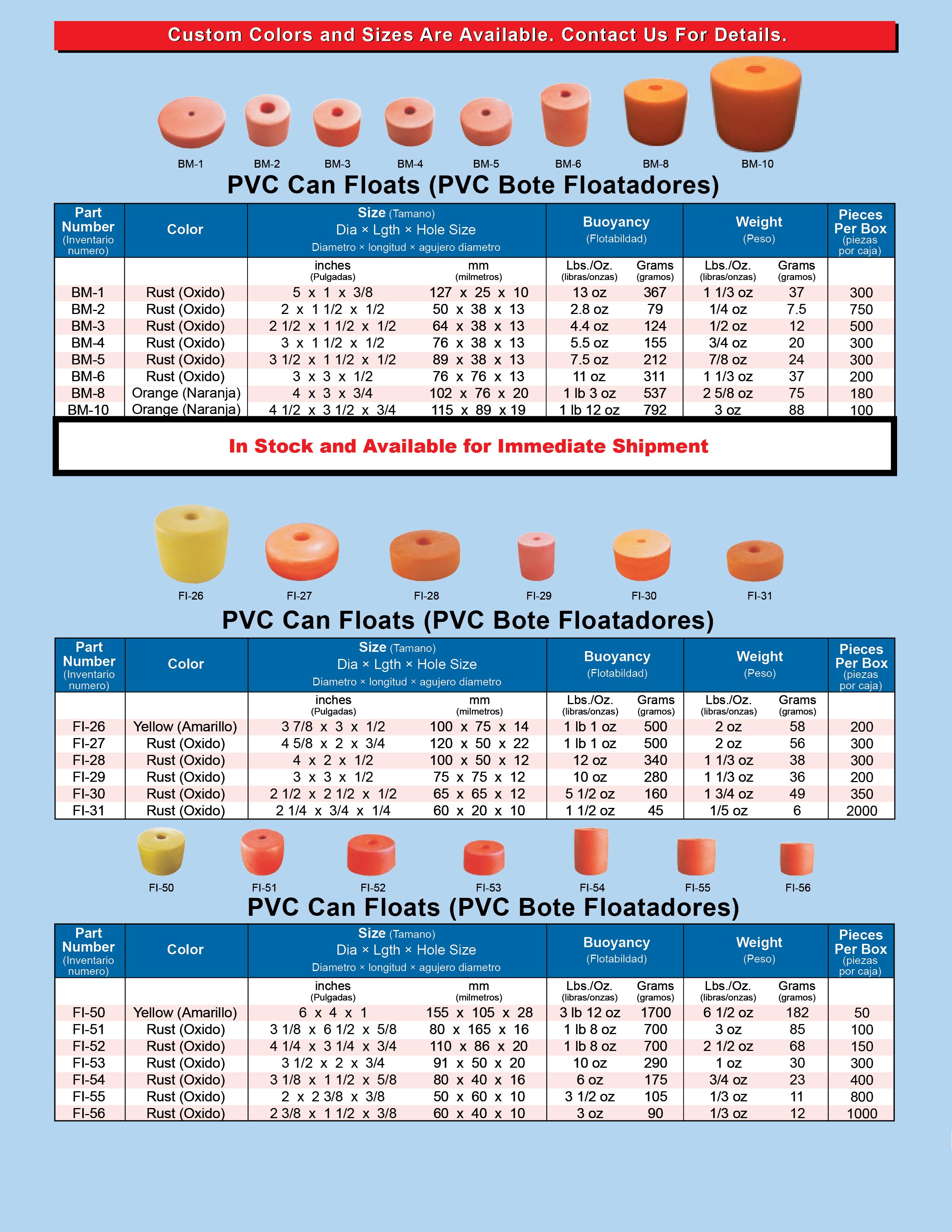PVC Can Floats