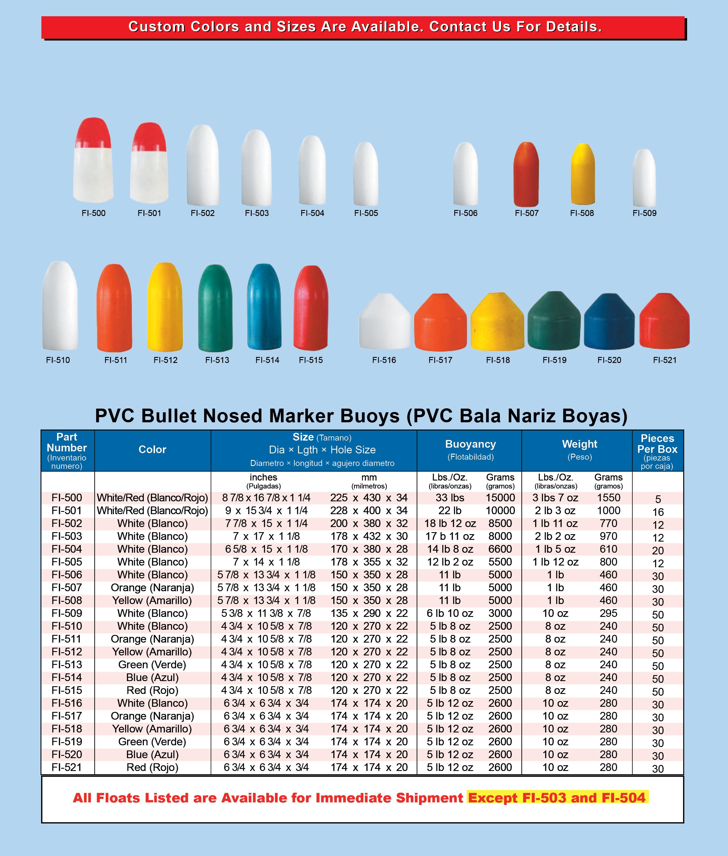 PVC Bullet Nosed Buoys