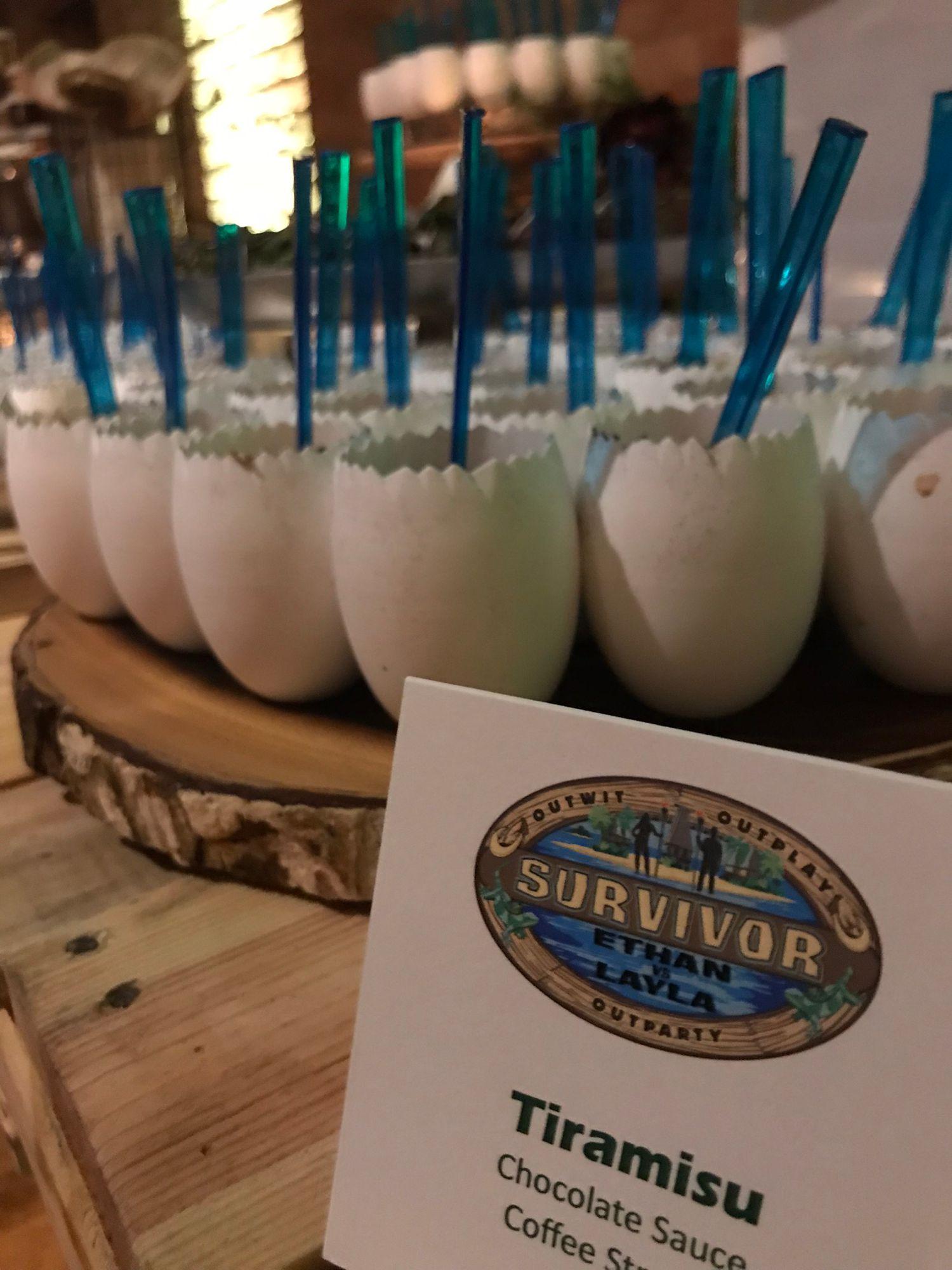 Mitzvah Catering Tiramisu Cups in Survivor Theme Event