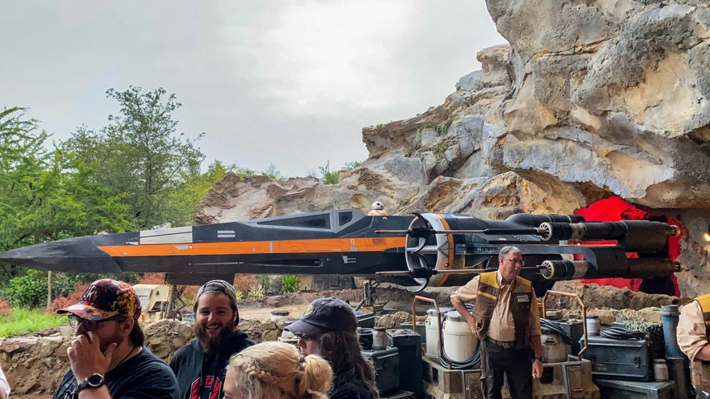You get to walk past a life-size X-wing at Star Wars Rise of the Resistance at Disneyworld Hollywood Studios