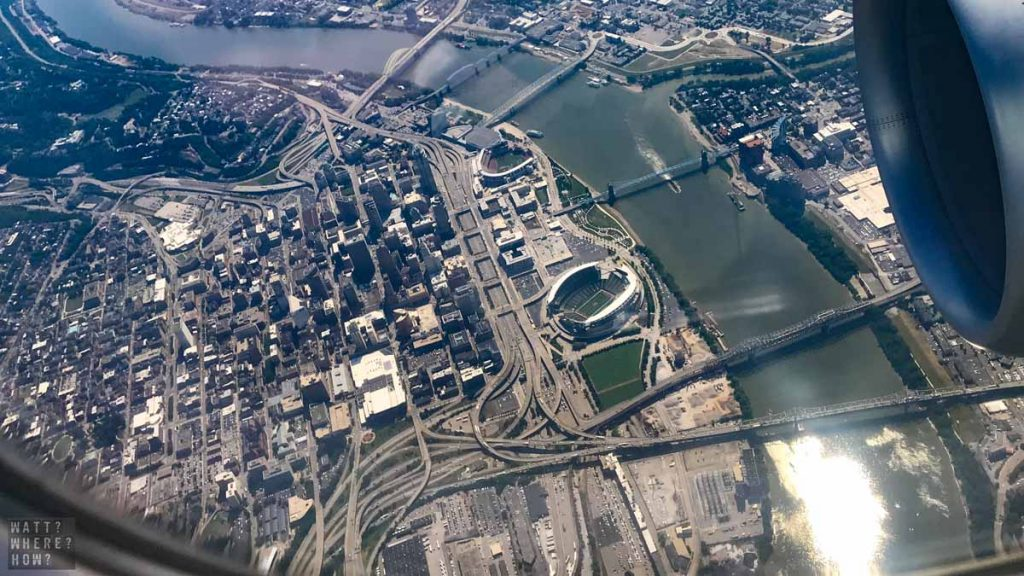 Even from the air you can spot some of the fun things to do in Cincinnati like the riverboats, the baseball, and the Roebling Bridge walk.