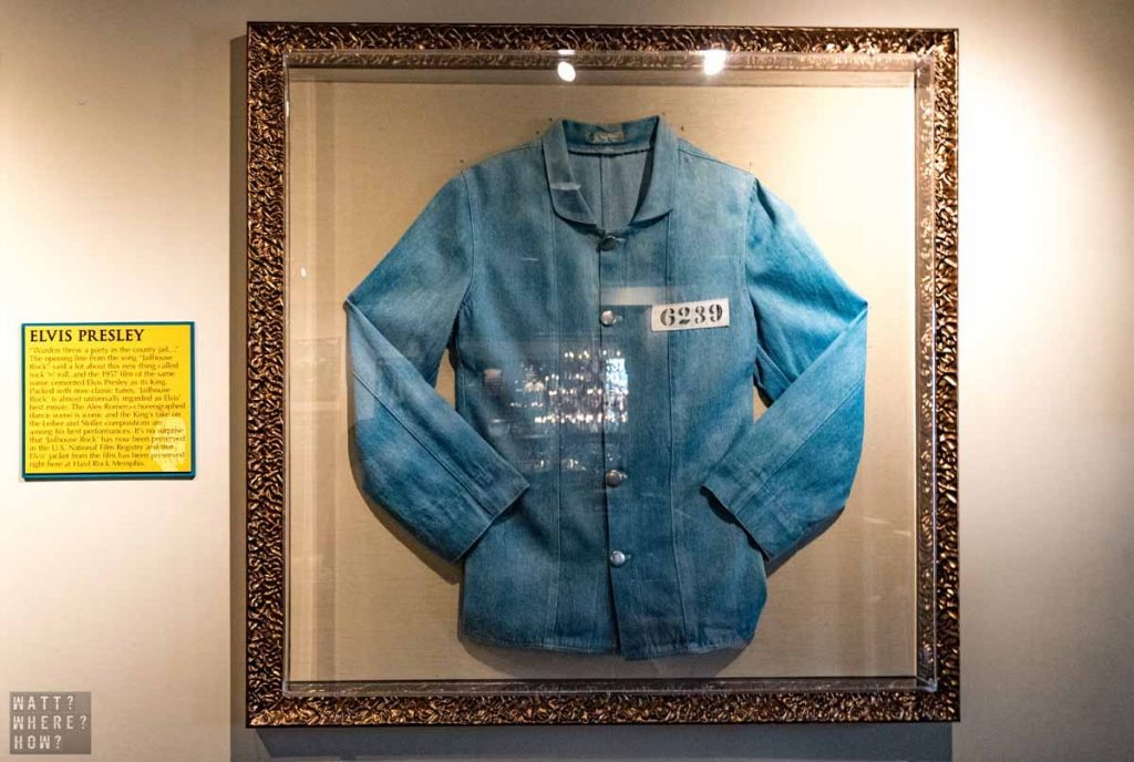 You will find rock memorabilia aplenty at the Hard Rock Cafe Memphis - like the shirt worn by Elvis Presley in Jailhouse Rock.