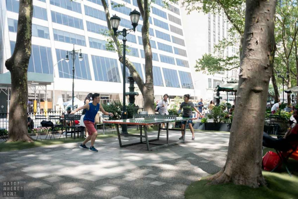 At Bryant Park NY you can play free ping-pong in the warmer months.